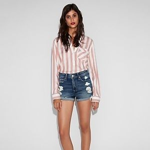 Express High Waisted Distressed Denim Shorts